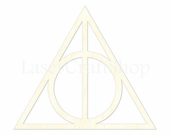 "2"" - 34"" Harry Potter Deathly Hallows Wooden Cutout Shape, Silhouette, Gift Tags Ornaments, Room Decoration Laser Cut Birch Wood,  #1668"