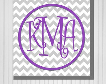Personalized Chevron Monogram with Name (Family, Boy, or Girl) Print (Canvas or Metal)