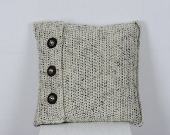 Crochet Pillow Cover Beige (Aran) Fleck