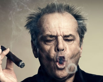Print, Jack Nicholson Smoking A Cigar, Wall Art, Smoking
