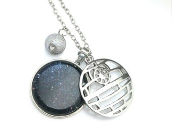 """Death Star Star Wars Inspired Beaded Glass Dome Cabochon Charm 20"""" Chain Necklace Silver Tone"""