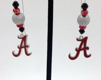 1 Pair - Alabama Crimson Tide Theme Dangle Beaded Earrings Brass Ear wire Kidney Style EAR0010