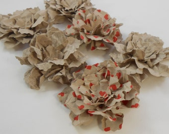 "Handmade Paper Flowers Sweet Shabby Wild Roses Craft Paper hearts type Handmade Floral Embellishments 3D Pretty 2.25"" set of 3 Scrapbooking"