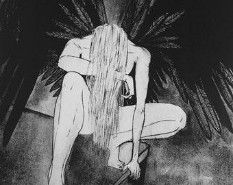 Blackbird Singing in the Dead of Night * fantasy * black angel drawing * comic illustration * brush pen art