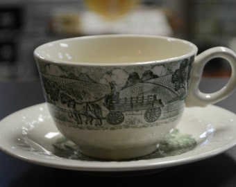 Vintage Pastoral Cup and Saucer