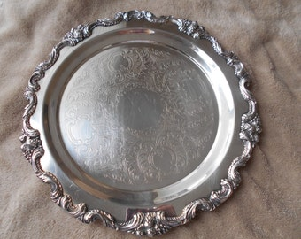 "Vintage AMSTON 1789 silverplate footed serving platter 13"""