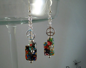 Glass Flower Power Dangle Earrings with Sterling Peace Sign, Hippie