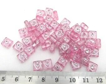 50 Square Acrylic Beads Heart Design-Lt Pink (B34b)