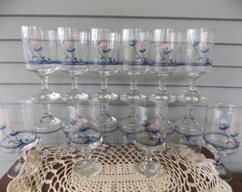Set of 16 Vintage Clear Glass Pedestal Drinking Glasses Goblets with Pink & Gray Flower Blue Ring Design