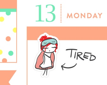 P011 - Morning stickers, tired stickers, morning person, planner stickers, sick day stickers, lazy stickers, MINI size, 36 stickers, PPC159