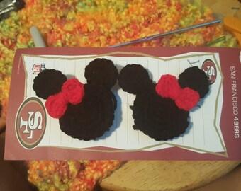 minnie mouse crochet hair clips