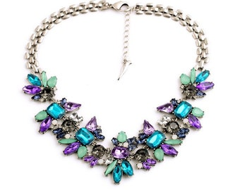 Crystal Flower Pendants  Necklace Fashion Jewelry Women Accessories