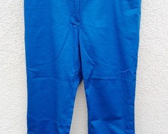 Blue cotton women's capri pants