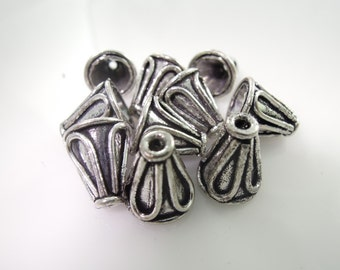 Bead Caps Bali Style Antique Silver Rhodium Plated Brass #4259