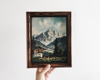 small vintage hand painted oil painting