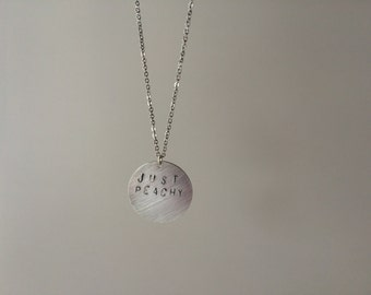 JUST PEACHY Hand-Stamped Necklace