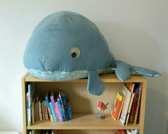 Giant whale | Stuffed animal | Denim and canvas