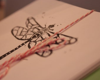 Dragonfly Note Cards with Envelopes--Set of Four in White or Brown
