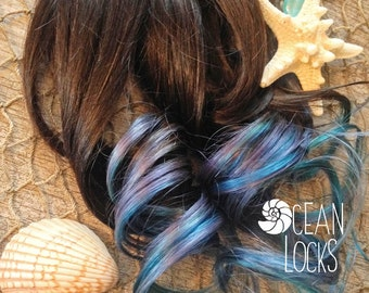 """Ombre Hair, IN STOCK, 20"""" Long, Hair Extensions Clip In, Teal Hair, Mermaid Hair, Blue Hair,Brown Hair, Dip Dye Hair, Ocean Locks"""