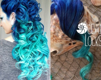 Blue Hair, Turquoise, Mint, Hair Extensions, Ombre Hair Extensions, Mermaid Hair, Hair Extensions Clip in, Thick Hair