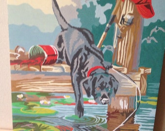 Oil paint by number dog painting