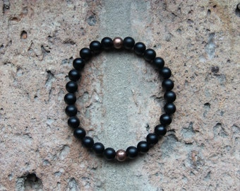 Onyx + Copper Bracelet