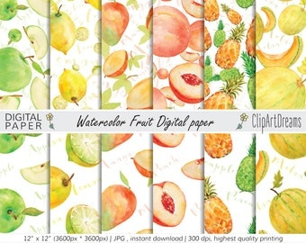 Watercolor Fruit Digital paper pack seamless pattern - lemon, melon, apple, peach pineapple watercolor background, commercial use, set of 12