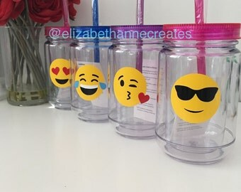 Emoji Mason Jars, Acrylic Double Wall Mason Jar Tumblers with straw