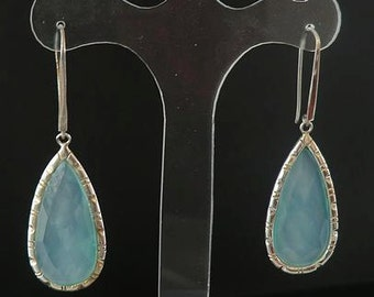 Sea-colored chalcedony earrings DEWA