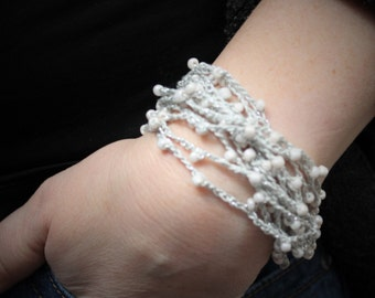 """Hand crafted silver and """"pearl"""" bracelet"""