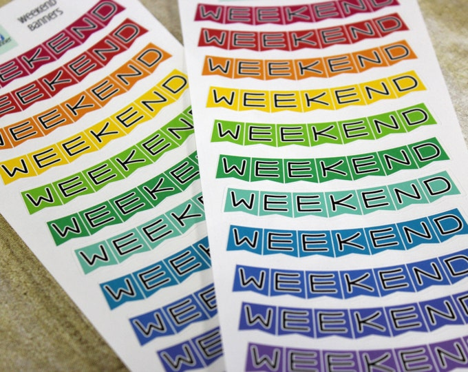 Weekend Banner Planner Stickers - Reminder Stickers - Planner Stickers - Rainbow Weekend Banners - Functional Stickers