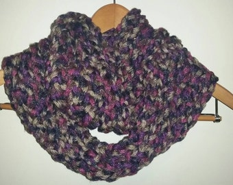 Handmade Knit Infinity Scarf in Romantic