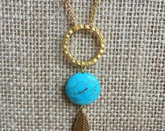 Feather necklace, Bohemian necklace, Turquoise necklace, Long necklcae