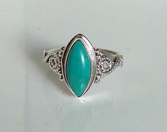 Turquoise silver ring, turquoise ring, handmade ring size 5,6,7,8,9,10,11,12, statement ring, gift for her ring
