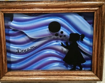 "Adorable Mini Shadowbox featuring Little Girl Blowing Bubbles .....   ""Dream"""