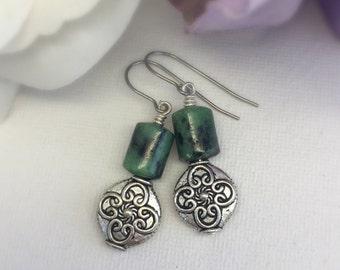 Heather - Moss Agate earrings