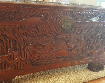 Vintage Camphor wood Chinese hand carved trunk