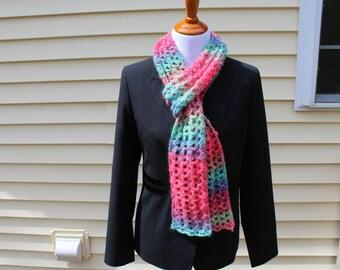 Lightweight Lacy Summer Scarf, Crochet Summer Scarf, Multicolor Long Scarf, Crochet Scarf