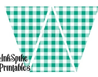 Teal Green Gingham Printable Bunting