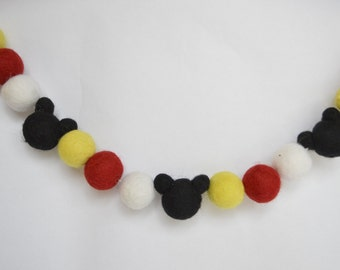 Felt ball, Mickey mouse inspired Garland