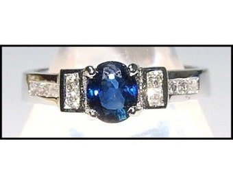 Natural Solitaire Diamond 18K White Gold Blue Sapphire Ring [RS0091]