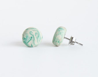 Mint and Cream Marble Circle Stud Earrings