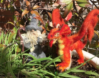 Needle felted dragon, wool dragon, felted fairytale animal, felted red dragon, fantastic doll, magical doll, fantastic animal, felted magic