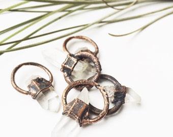 Raw Quartz Crystal Necklace   Rough Quartz Crystal Pendant   Electroformed Crystal   Copper Hoop Pendant   Rustic Necklace   Quartz Jewelry