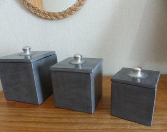 Decoration 3 square boxes grey tadelakt