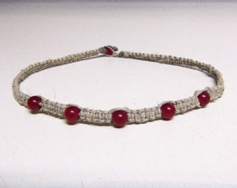 Natural Hemp Necklace w/ Ruby