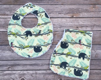 Lazy Day Sloth Baby Bib and Burp Cloth Set, baby shower, baby shower gift, baby shower gift set