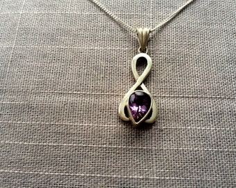 "Pure Sterling Silver Jewelry/Genuine AMETHYST gemstone pendant with 18"" Silver chain/Natural Stone/"