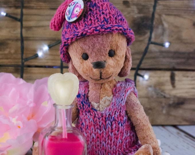 Pink Teddy Bear artists , Teddy Bear artists , handmade toy , OOAK teddy bear with