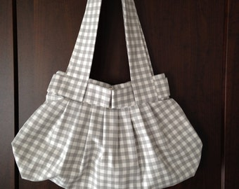 Grey and White Checkered Handbag by Jenny K Designs